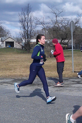 Emily Buzzell leads the coed division of the George Washington Birthday Marathon and Relay on the first leg.