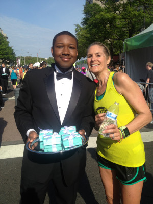 Carla Freyvogel met this handsome fellow in his running club tuxedo, bearing Tiffany Blue breakfast hors d'oeuvres. Photo courtesy of W.T.F.