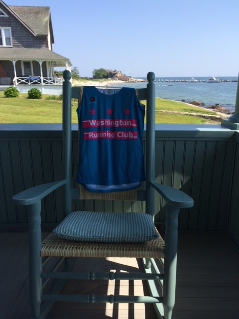 WRC singlet relaxes on the porch.  Long Island Sound, Waterford, CT, USA.  Photo by Carla Freyvogel
